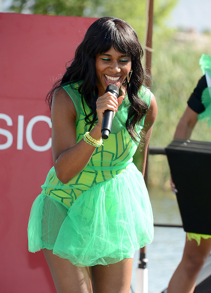 Santigold sang on stage.