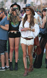 Alessandra Ambrosio was part Western, part bohemian in her tan-and-white getup.