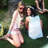 Nicky Hilton caught up with Jessica Szohr on the grass. Source: Instagram user nickyhilton