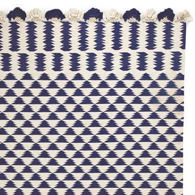 Navy/Ivory Zig Cotton Dhurrie
