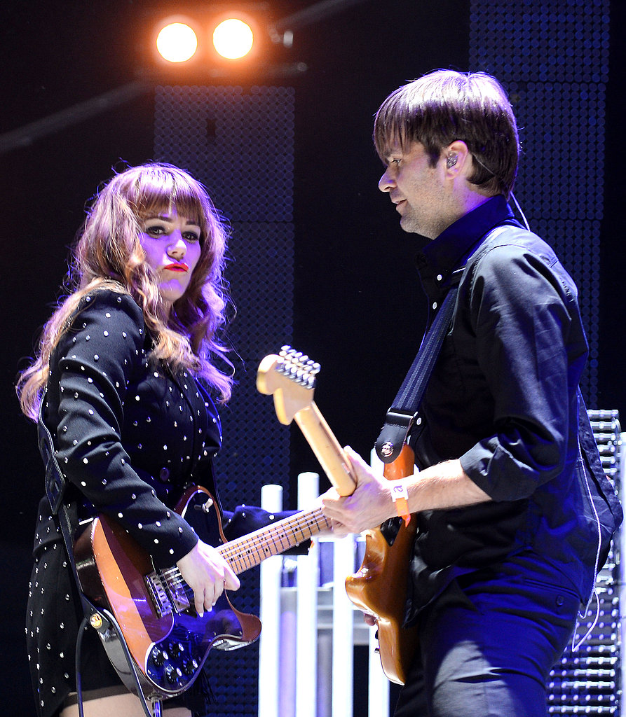 Jenny Lewis and Ben Gibbard of The Postal Service rocked out on their guitars on Saturday.