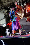 Bat for Lashes singer Natasha Khan stood out on stage with her multicolored ensemble.