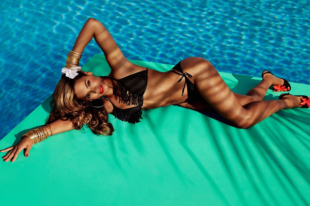 Beyoncé posed in a black two-piece for her new Summer H&M ad.