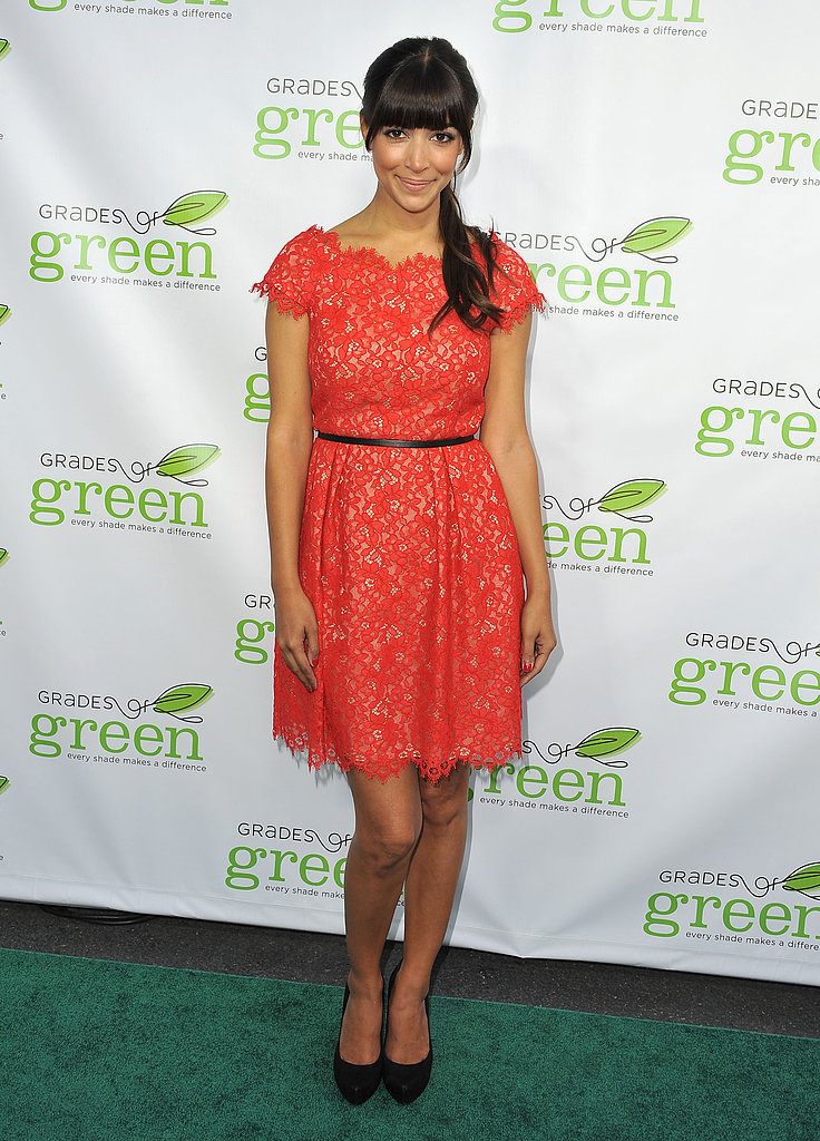 Hannah Simone's red lace Shoshanna dress, complete with a skinny black belt and platform pumps, would definitely get you a compliment or two.