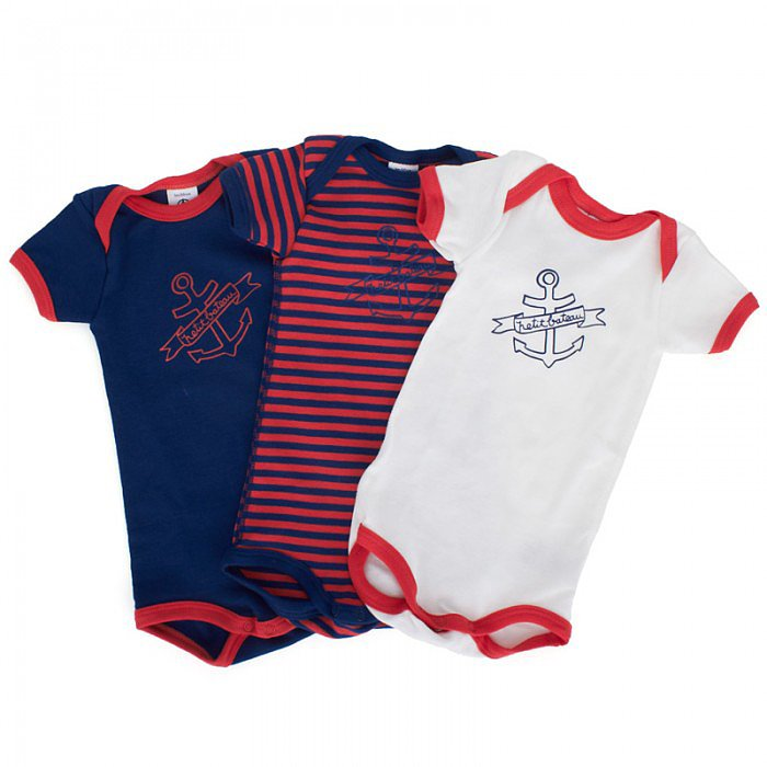 A trio of Petit Bateau nautical bodysuits ($35) in red, white, and blue are all your baby boy needs on to head out into the warm Summer sun.