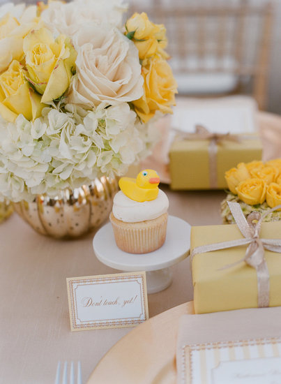 A Yellow Duck Shower With Reveal Cupcakes