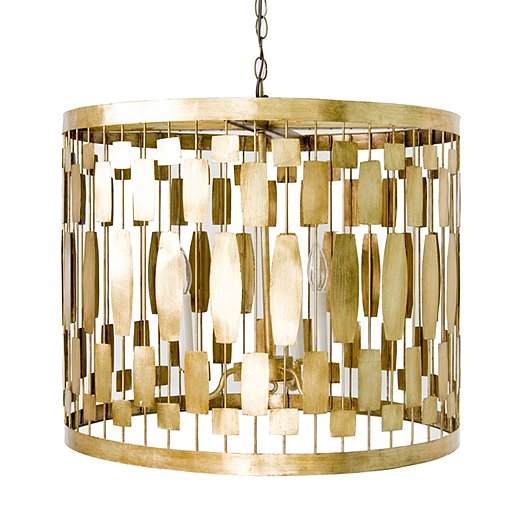 Retro meets modern on this gold leaf pendant ($660), another go-anywhere option that would bring a dramatic, sophisticated touch to an entryway.