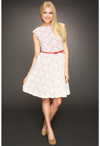 Maggy London - Textured Rose Lace Cap Sleeve Dress (Ivory Coral) - Apparel