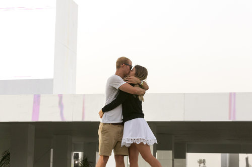 This pair of lovebirds went in for the embrace at Coachella in Indio, CA.