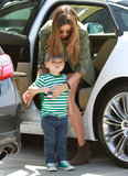 Miranda and Flynn opted for clashing greens in LA in April 2013.