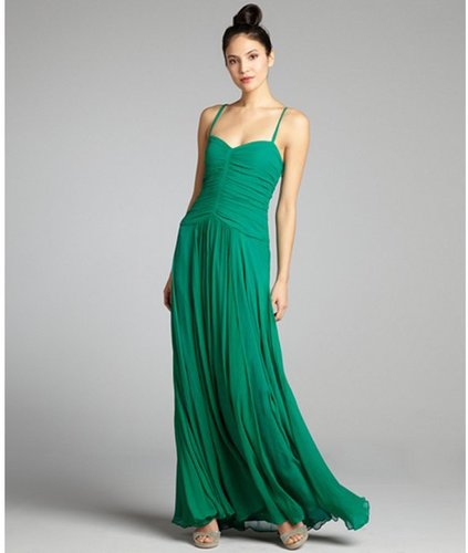 Vera Wang Lavender Label emerald crinkle silk chiffon pleated sweetheart gown