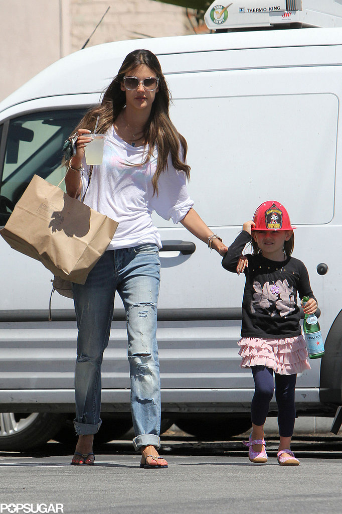 Alessandra Ambrosio did some shopping with her daughter, Anja Mazur.