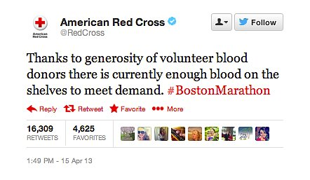 So many people donated blood that the Red Cross said there was enough to meet demand.