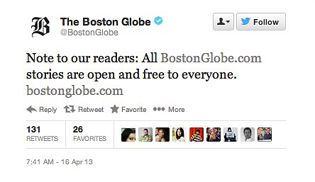 The Boston Globe waived its pay wall so that everyone could read its news coverage for free.
