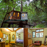 Set among the trees in Watsonville, CA, the redwood tree house features rustic, organic details and unique architecture. Guests have access to a hot tub, a small kitchen, plus a DVD player for the ultimate cozy movie night.