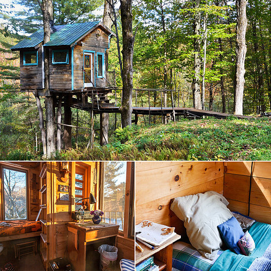 Perched on a cluster of maple trees, the forest tree house in Lincoln, VT, is a cozy but functional retreat, offering heat, electricity, a loft, and a bathroom with a shower. Even better? Beautiful views of Mount Abraham and the sweeping forest below.