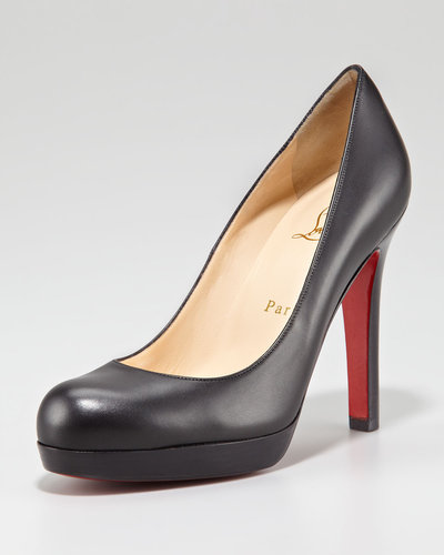 Christian Louboutin Bruges Leather Platform Red Sole Pump, Black