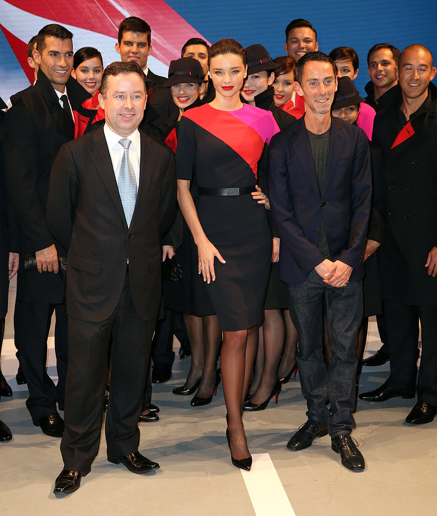 Miranda with Qantas CEO Alan Joyce and designer Martin Grant.