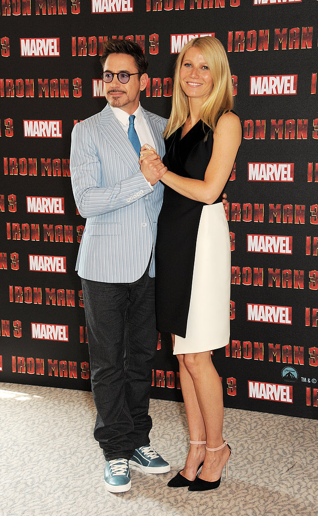 Gwyneth Paltrow and Robert Downey Jr. got flirty during an Iron Man 3 photocall in London.
