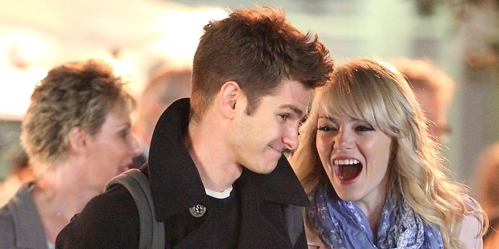 Emma and Andrew Snuggle Up For PDA on the Spider-Man Set