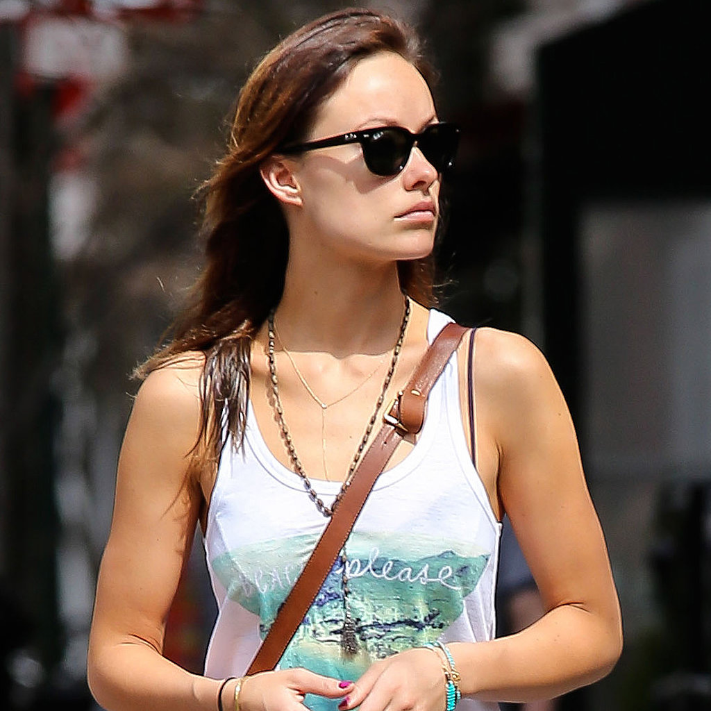 While walking her dog, Olivia Wilde accessorized with this delicate Ariel Gordon gold diamond lariat necklace ($545).
