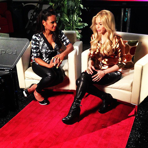 Christina Milian and Shakira chatted on the set of The Voice.  Source: Instagram user christinamilian