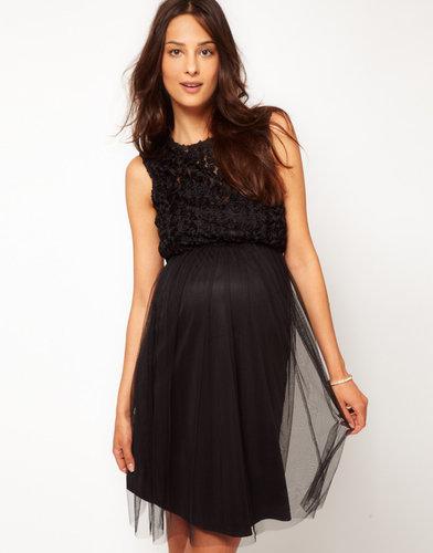 ASOS Maternity Skater Dress With Rose Mesh