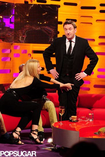 Gwyneth Paltrow and Mo Farah grabbed Lee Mack's crotch.