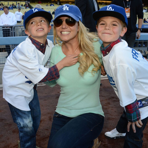 Britney Spears and Her Sons at LA Dodgers Game