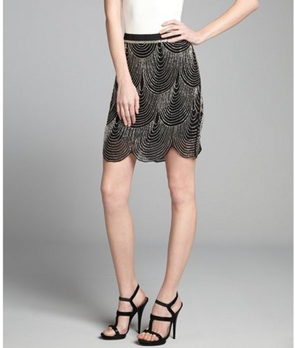 Joie black and silver silk chiffon beaded scallop trim &#039;Saphrina&#039; skirt