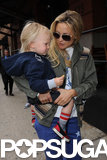 Kate Hudson carried her son Bingham in NYC.