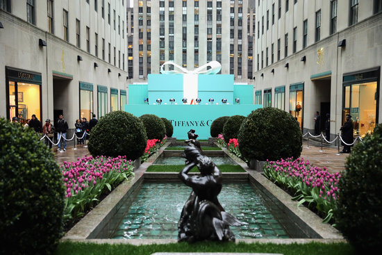 An outside view of the Tiffany & Co. party at the Rockefeller Center in NYC.