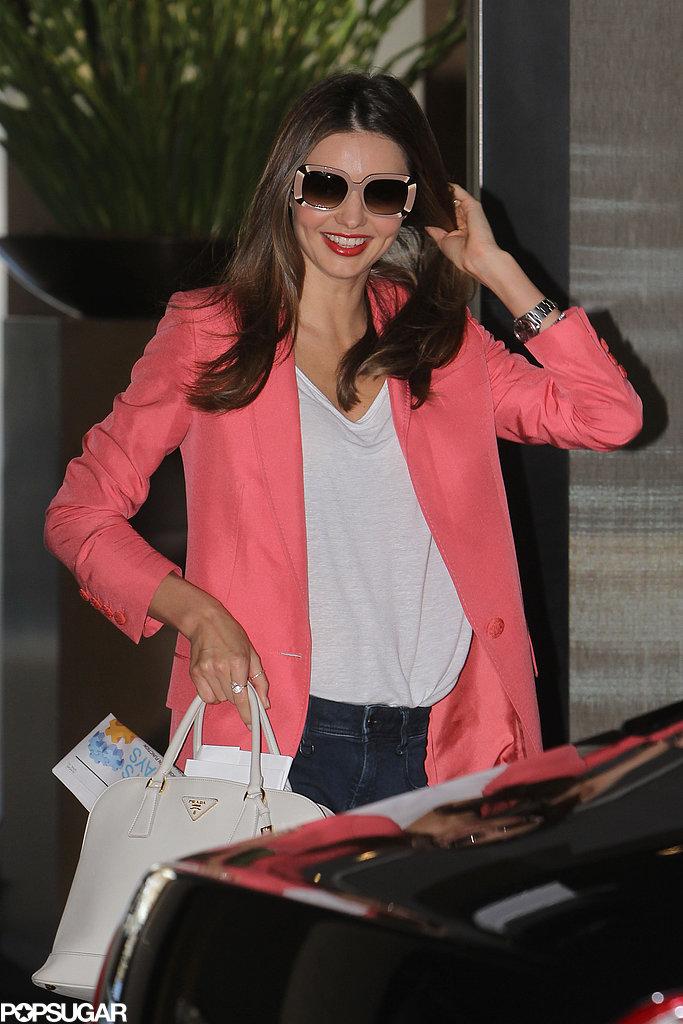Miranda Kerr wore a pink blazer.