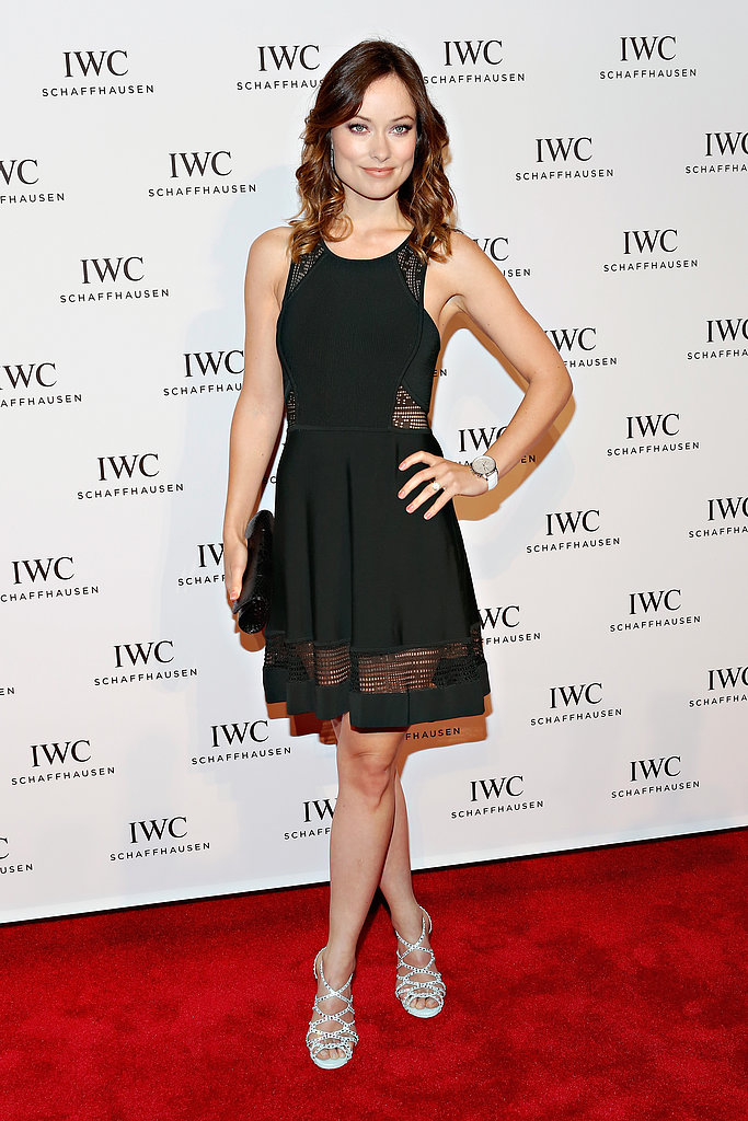 Olivia Wilde took the LBD approach to her appearance at the For the Love of Cinema event, wearing a sheer-paneled A.L.C cocktail dress with strappy Tabitha Simmons sandals and House of Lavande earrings.