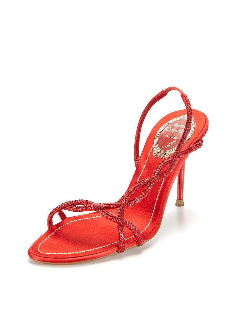 Pair this Rene Caovilla crystal satin slingback ($499, originally $1,134) with a chic printed floral dress for an outdoor wedding.