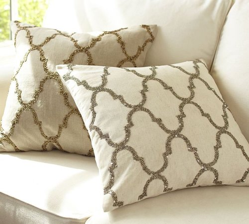 Rustic Luxe & Sequin Tile Pillow Cover