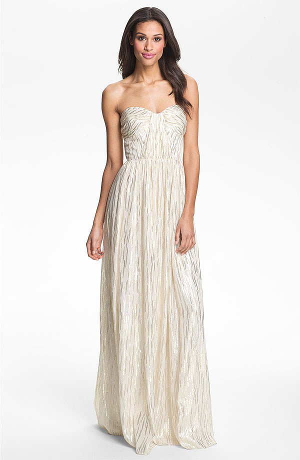 For the nontraditional bride, the metallic finish on this Erin by Erin Fetherston gown ($550) offers a refreshing twist.