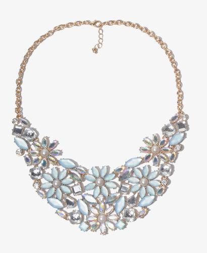 FOREVER 21 Bejeweled Flower Bib Necklace