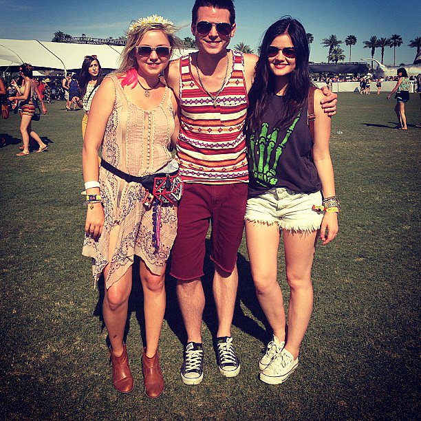 Lucy Hale wore white shorts for a day at Coachella. Source: Instagram user lucyhale89