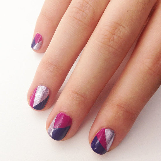 Creating a mod geometric nail design is an easy way to wear three of your favourite polish shades all at the same time.