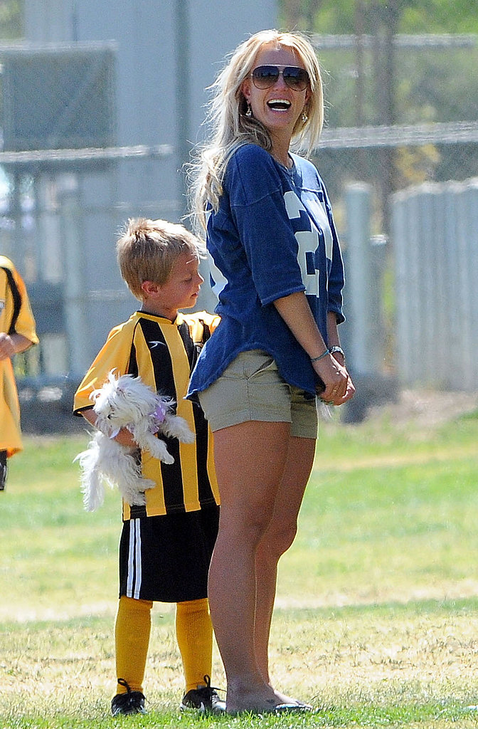 Britney Spears was all smiles while at her sons' Sean Preston and Jayden James's soccer game in LA on Sunday.