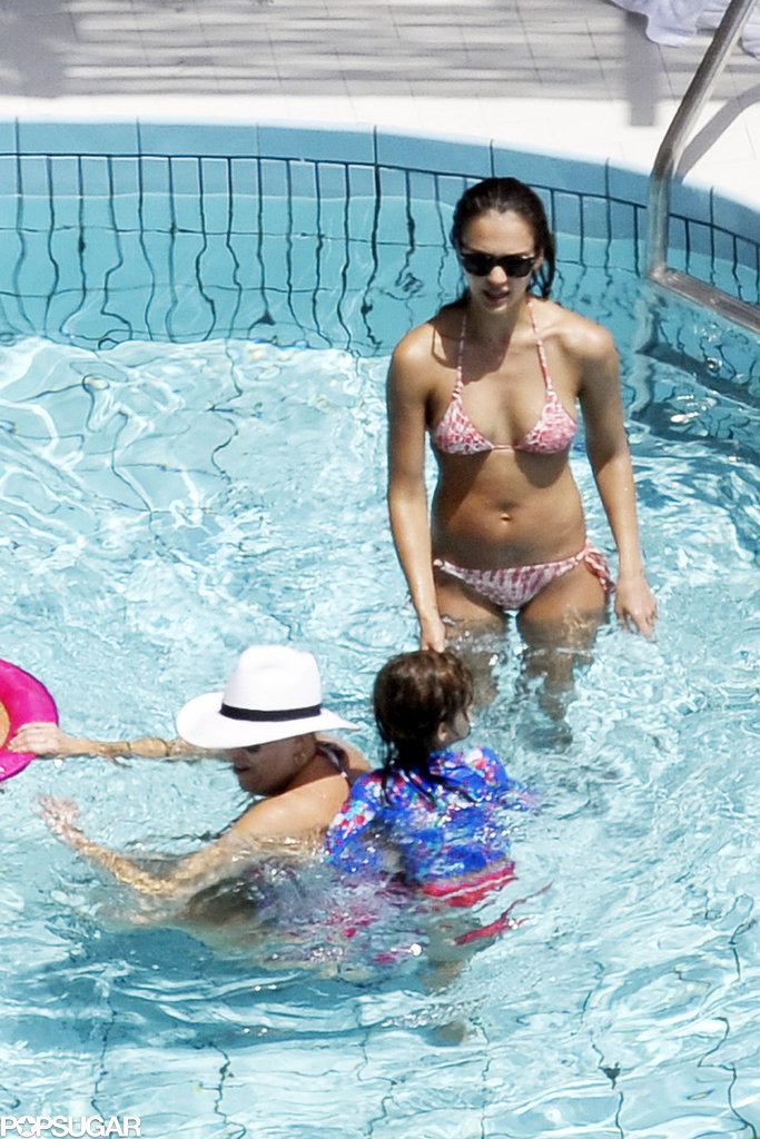 Jessica Alba played with her family in a kiddie pool while vacationing on the Amalfi coast in Italy in July 2012.