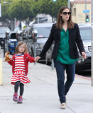 Jennifer Garner led the way for her daughter Seraphina Affleck in LA on Monday.