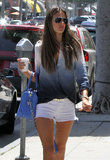 Alessandra Ambrosio carried a blue bag.