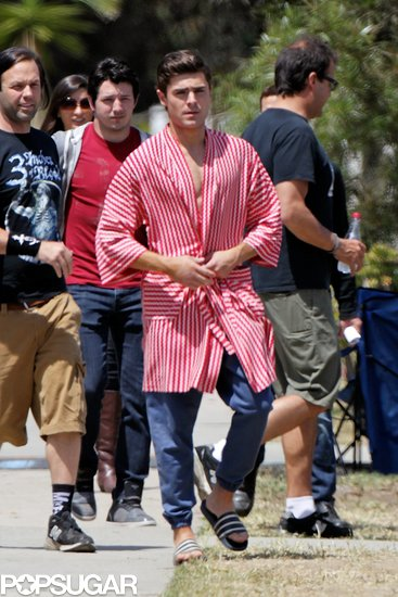 Zac Efron made his way through the Townies set in LA.