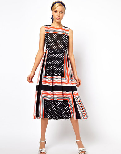 ASOS Midi Dress In Spot And Stripe Scarf Print