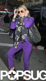 Kate Hudson wore a purple suit to Good Morning America.