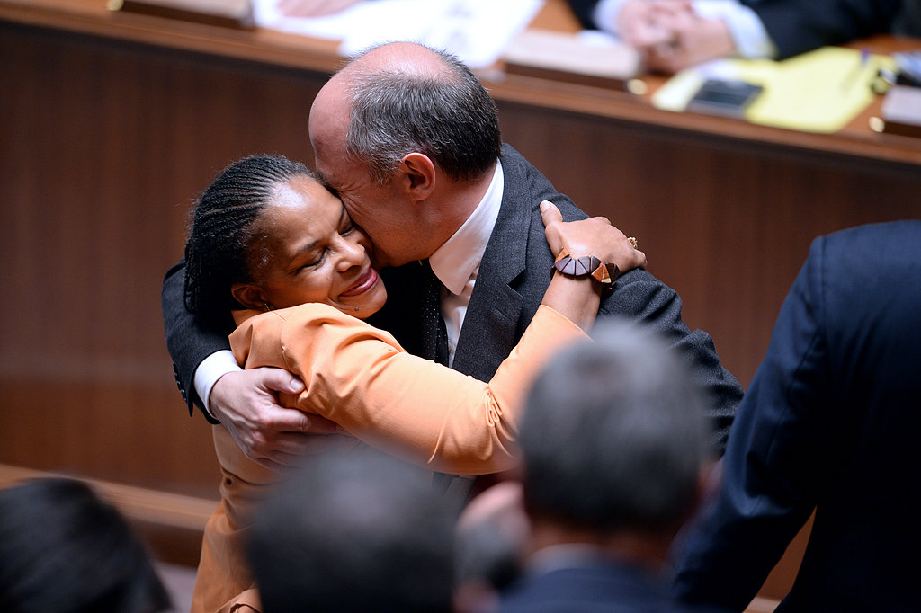 French Justice Minister Christiane Taubira got a hug.