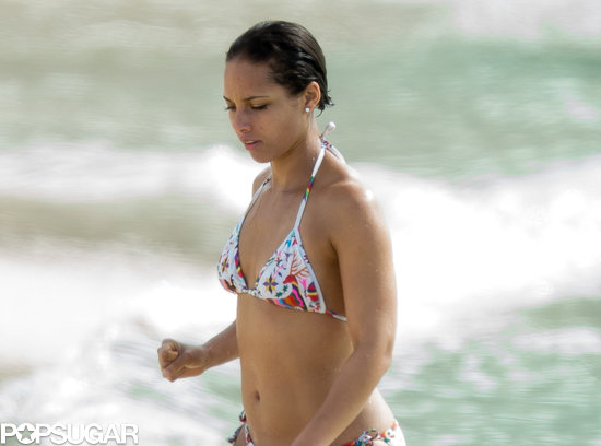 Alicia Keys wore a printed bikini.