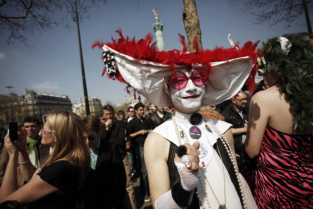 A member of The Sisters of Perpetual Indulgence (Les Soeurs de la Perpétuelle Indulgence) gathered at Bastille square to protest against homophobia on Monday.